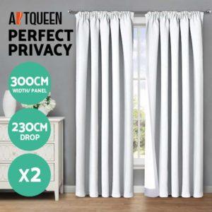CURTAIN HOOK D230X300 WH 02 300x300 - Art Queen 2 Pencil Pleat 300x230cm Blockout Curtains - White
