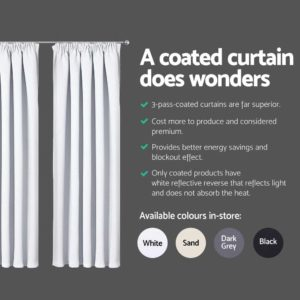 CURTAIN HOOK D230X300 WH 04 300x300 - Art Queen 2 Pencil Pleat 300x230cm Blockout Curtains - White