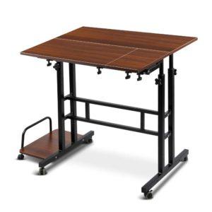 la desk sd dw 02 300x300 - Mobile Twin Laptop Desk - Dark Wood