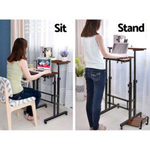 la desk sd dw 03 300x300 - Mobile Twin Laptop Desk - Dark Wood