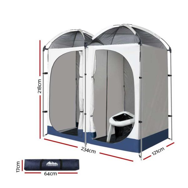 CAMP TOILET EPOT CR DOU 01 600x600 - WEISSHORN Double Camping Shower Tent Portable Toilet Outdoor Change Room Ensuite