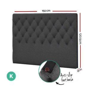 BFRAME E HEAD K CHAR 01 300x300 - Artiss King Size Upholstered Fabric Headboard - Charcoal