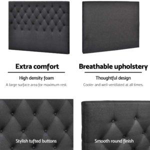 BFRAME E HEAD K CHAR 04 300x300 - Artiss King Size Upholstered Fabric Headboard - Charcoal