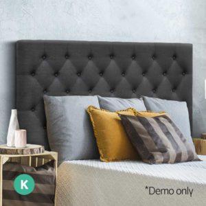 BFRAME E HEAD K CHAR 06 300x300 - Artiss King Size Upholstered Fabric Headboard - Charcoal