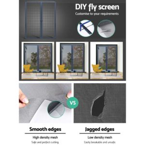 FLSC 101H 2324D GR 04 300x300 - Instahut Retractable Magnetic Fly Screen Flyscreen Door Mesh Sliding 2.3m x 2.4m Grey
