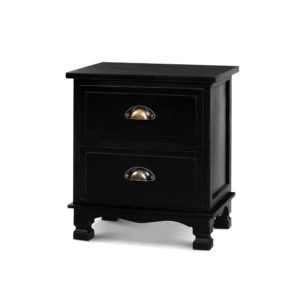 ST CAB B 2D BKX2 00 300x300 - 2x Artiss Bedside Tables Drawers Side Table Nightstand Storage Cabinet Vintage
