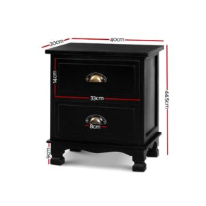 ST CAB B 2D BKX2 01 300x300 - 2x Artiss Bedside Tables Drawers Side Table Nightstand Storage Cabinet Vintage