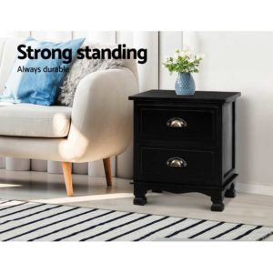 ST CAB B 2D BKX2 02 300x300 - 2x Artiss Bedside Tables Drawers Side Table Nightstand Storage Cabinet Vintage