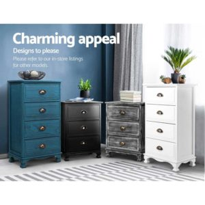 ST CAB B 2D BKX2 05 300x300 - 2x Artiss Bedside Tables Drawers Side Table Nightstand Storage Cabinet Vintage