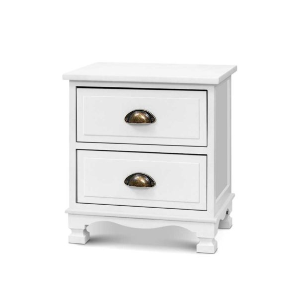 ST CAB B 2D WHX2 00 600x600 - 2x Artiss Bedside Tables Drawers Side Table Nightstand Vintage Storage Cabinet