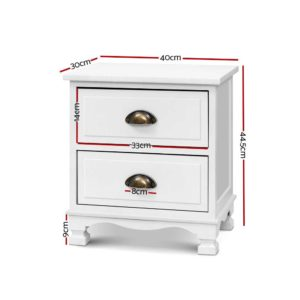 ST CAB B 2D WHX2 01 300x300 - 2x Artiss Bedside Tables Drawers Side Table Nightstand Vintage Storage Cabinet