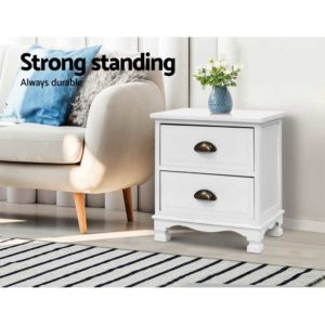 ST CAB B 2D WHX2 02 300x300 - 2x Artiss Bedside Tables Drawers Side Table Nightstand Vintage Storage Cabinet