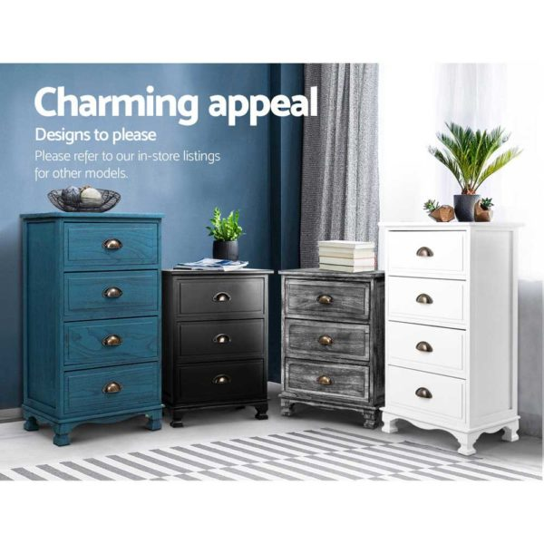ST CAB B 2D WHX2 05 600x600 - 2x Artiss Bedside Tables Drawers Side Table Nightstand Vintage Storage Cabinet