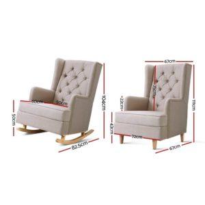 UPHO C AVAN KD BG AB 01 300x300 - Artiss Rocking Armchair Feedining Chair Fabric Armchairs Lounge Recliner Beige