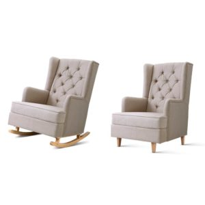 UPHO C AVAN KD BG AB 02 300x300 - Artiss Rocking Armchair Feedining Chair Fabric Armchairs Lounge Recliner Beige