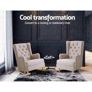 UPHO C AVAN KD BG AB 03 300x300 - Artiss Rocking Armchair Feedining Chair Fabric Armchairs Lounge Recliner Beige