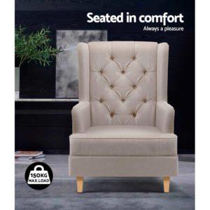 UPHO C AVAN KD BG AB 04 300x300 - Artiss Rocking Armchair Feedining Chair Fabric Armchairs Lounge Recliner Beige