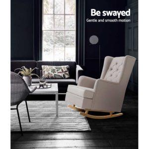 UPHO C AVAN KD BG AB 05 300x300 - Artiss Rocking Armchair Feedining Chair Fabric Armchairs Lounge Recliner Beige