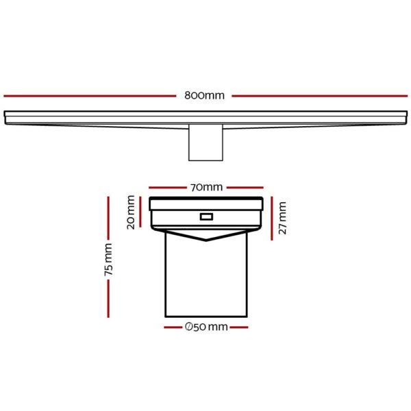 SSG INSERT 800 BK 01 600x600 - Cefito Stainless Steel Shower Grate Tile Insert Bathroom Floor Drain Liner 800MM Black