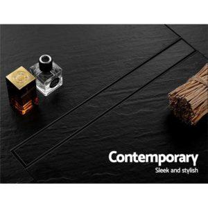 SSG INSERT 800 BK 03 300x300 - Cefito Stainless Steel Shower Grate Tile Insert Bathroom Floor Drain Liner 800MM Black