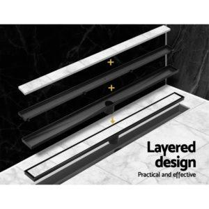 SSG INSERT 800 BK 04 300x300 - Cefito Stainless Steel Shower Grate Tile Insert Bathroom Floor Drain Liner 800MM Black