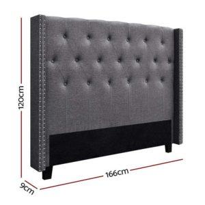 BFRAME E LUCA Q GY 01 300x300 - Artiss LUCA Queen Size Bed Head Headboard Bedhead Leather Base Frame