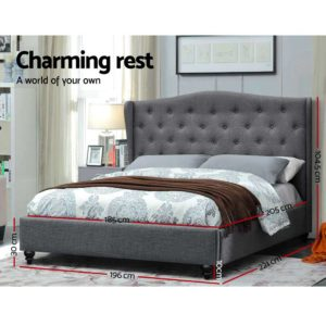 BFRAME E PIER K GY AB 01 300x300 - Artiss King Size Wooden Upholstered Bed Frame Headborad - Grey