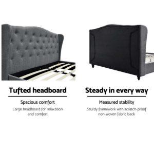 BFRAME E PIER K GY AB 02 300x300 - Artiss King Size Wooden Upholstered Bed Frame Headborad - Grey