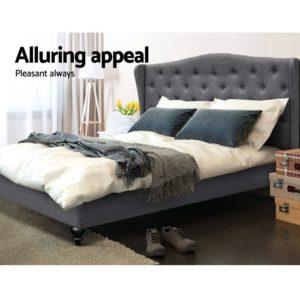 BFRAME E PIER K GY AB 04 300x300 - Artiss King Size Wooden Upholstered Bed Frame Headborad - Grey