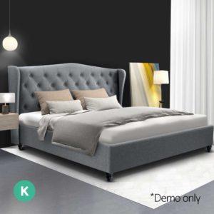 BFRAME E PIER K GY AB 06 300x300 - Artiss King Size Wooden Upholstered Bed Frame Headborad - Grey