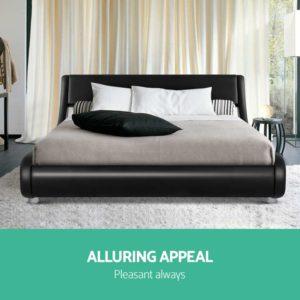 BFRAME F FLIO K BK AB 02 300x300 - Artiss King Size PU Leather Bed Frame - Black