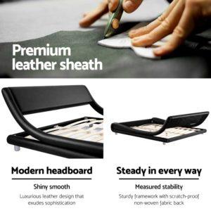 BFRAME F FLIO K BK AB 04 300x300 - Artiss King Size PU Leather Bed Frame - Black