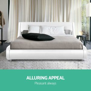BFRAME F FLIO K WH AB 02 300x300 - Artiss King Size PU Leather Bed Frame - White