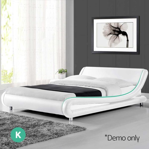 BFRAME F FLIO K WH AB 06 600x600 - Artiss King Size PU Leather Bed Frame - White
