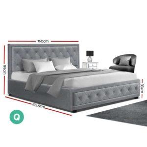 BFRAME F TIYO Q GY ABC 01 300x300 - Artiss TIYO Queen Size Gas Lift Bed Frame Base With Storage Mattress Grey Fabric