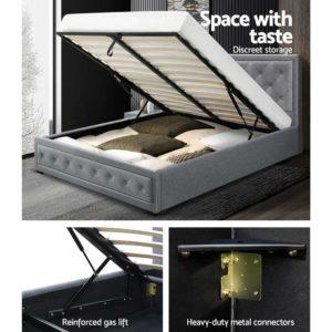 BFRAME F TIYO Q GY ABC 03 300x300 - Artiss TIYO Queen Size Gas Lift Bed Frame Base With Storage Mattress Grey Fabric