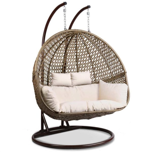 HM EGG TAT D LACR AB 00 600x600 - Gardeon Outdoor Double Hanging Swing Chair - Brown