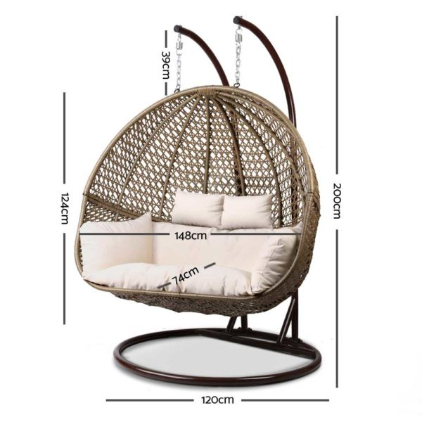 HM EGG TAT D LACR AB 01 600x600 - Gardeon Outdoor Double Hanging Swing Chair - Brown