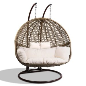 HM EGG TAT D LACR AB 02 300x300 - Gardeon Outdoor Double Hanging Swing Chair - Brown