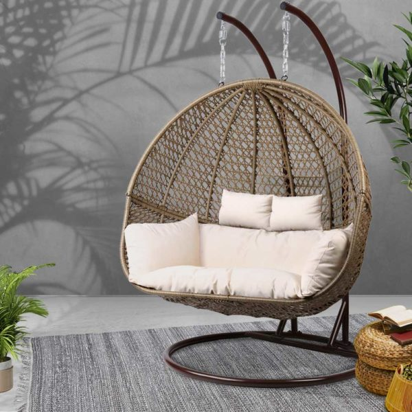 HM EGG TAT D LACR AB 06 600x600 - Gardeon Outdoor Double Hanging Swing Chair - Brown