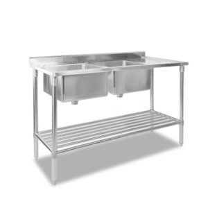 sskb 2sink l150 00 300x300 - Cefito 150x60cm Commercial Stainless Steel Sink Kitchen Bench