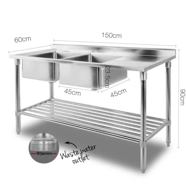 sskb 2sink l150 01 600x600 - Cefito 150x60cm Commercial Stainless Steel Sink Kitchen Bench