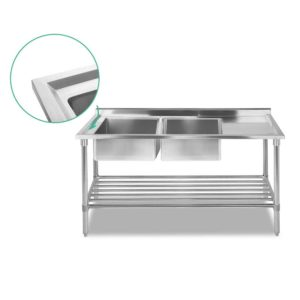 sskb 2sink l150 02 300x300 - Cefito 150x60cm Commercial Stainless Steel Sink Kitchen Bench