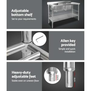 sskb 2sink l150 06 300x300 - Cefito 150x60cm Commercial Stainless Steel Sink Kitchen Bench
