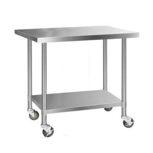 SSKB 430S 76 WHEEL 48 00 300x300 - Cefito 1219 x 762mm Commercial Stainless Steel Kitchen Bench with 4pcs Castor Wheels