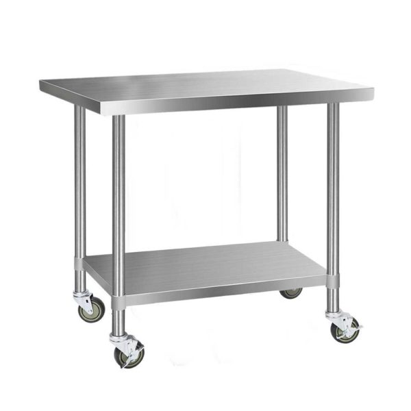 SSKB 430S 76 WHEEL 48 00 600x600 - Cefito 1219 x 762mm Commercial Stainless Steel Kitchen Bench with 4pcs Castor Wheels
