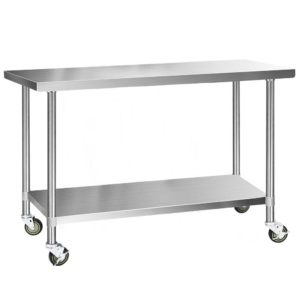 SSKB 430S WHEEL 60 00 300x300 - Cefito 430 Stainless Steel Kitchen Benches Work Bench Food Prep Table with Wheels 1524MM x 610MM