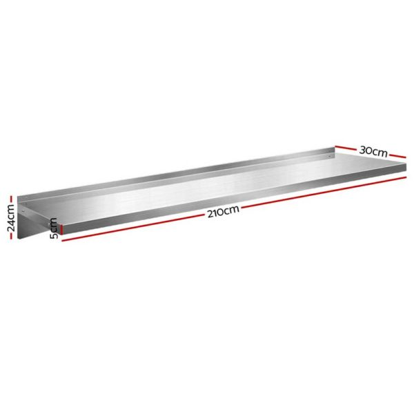 SSW 30210 SL 01 600x600 - Stainless Steel Wall Shelf Kitchen Shelves Rack Mounted Display Shelving 2100mm