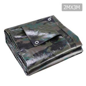 TARP CA 2X3 00 300x300 - Instahut 2x3m Canvas Tarp Heavy Duty Camping Poly Tarps Tarpaulin Cover Camouflage