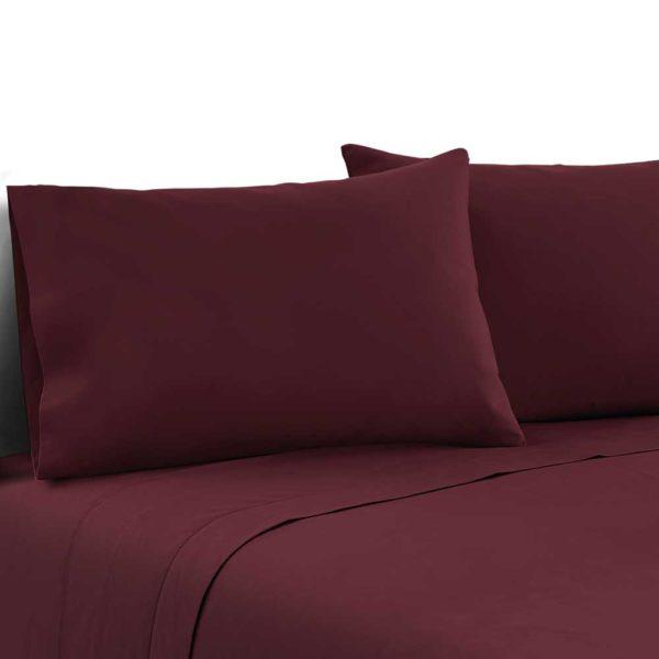 SHEET MICRO BGD D 00 600x600 - Giselle Bedding Double Burgundy 4pcs Bed Sheet Set Pillowcase Flat Sheet